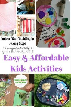 Simple ideas to keep the children busy, that are fun and inexpensive, with ideas for indoor fun as well as outdoor activities. Indoor Activities, Craft Activities For Kids, Summer Activities, Games For Kids, Diy For Kids, Crafts For Kids, Toddler Activities, Travel Activities, Toddler Preschool