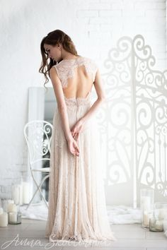Boho wedding dress open back wedding dress lace by AnnaSkoblikova