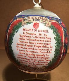 """Very Old Salvation Army Christmas Ornament """"100Th Year Of The Christmas Kettle 2"""