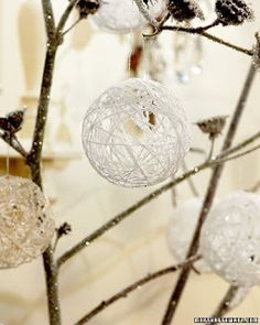 String and craft glue around a balloon! These ornaments were cute but i have seen them on a larger scale for home decor and even a wedding!