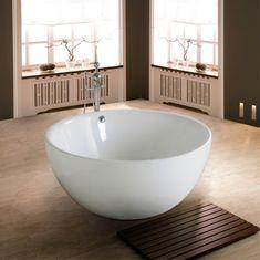 Runde Badewanne Freistehend Weiß Badematte Baddeko