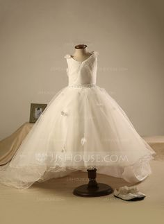 Ball Gown Knee-length Flower Girl Dress - Polyester/Cotton Sleeveless Scoop Neck With Beading/Pleated (010096000)