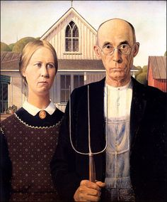 Grant Wood (Iowa, USA, 1891-1942) - American Gothic 1930