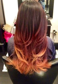 Caroline - Fair Oaks, CA, United States. Striking Dark brown Red into Blonde Ombré