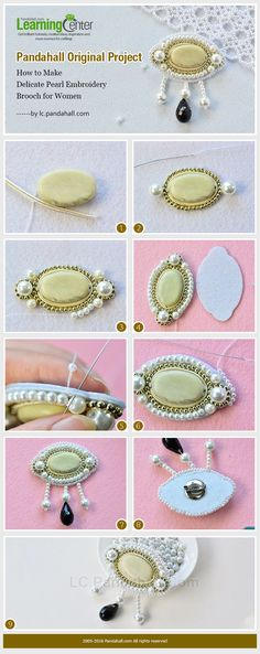 Pandahall Original Project--How to Make Delicate Pearl Embroidery Brooch for Women from LC.Pandahall.com