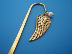Angel Wing with Freshwater Pearl Bookmark Gold by CloudNineDesignz, $10.00