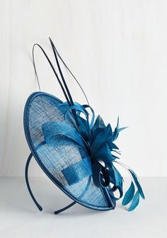 Blue Tilt the End of Time fascinator with feather detail