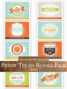 Girls Camp Pillow Treats Bundle Pack - Fun Candy Quotes - Perfect for LDS Young Women Girls Camp!