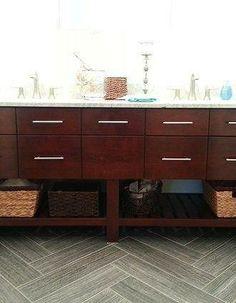 Herringbone bathroom tile wood plank (Custom cherry vanity and drawers for your bathroom. #home #decor #bath)