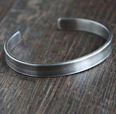 Men's Thick Oxidized Silver Cuff Bangle
