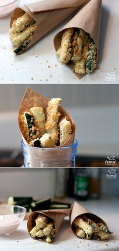 Baked zucchini fries with sriracha dipping sauce