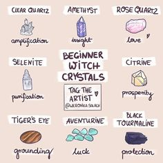 Please read my REPOST rules in my bio ? What's up Witches? Today I upload the latest version of Beginner Witch Crystals! Green Witchcraft, Magick Spells, Wiccan Witch, Wicca Witchcraft, Magick Book, Witchcraft For Beginners, Wicca For Beginners, Baby Witch, Eclectic Witch