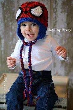 Spiderman Crocheted Hat Superhero Avenger Crochet by HatsByTracy