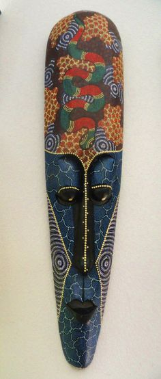 Extra large African Tribal mask with pindot by VintageAdorables, $49.00