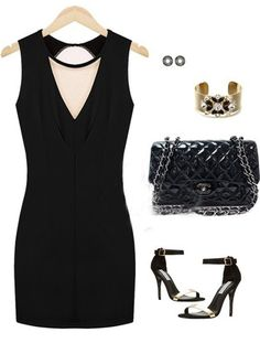 Backless Deep V Neck Sleeveless Black Mini Dress (US$12.99)