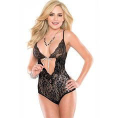 $7.95 Flirting Midnight Stretch Lace Teddy Lingerie