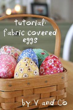 Grab some scraps and make these adorable fabric covered eggs with a free tutorial by Vanessa Skinner Christenson from V and Co. !  For the free tutorial please visit http://www.vanessachristenson.com/2009/03/tutorial-fabric-covered-eggs.html