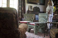 Michael Ancher's studio. Green chairs designed by Suzette Holten (nee Skovgaard).