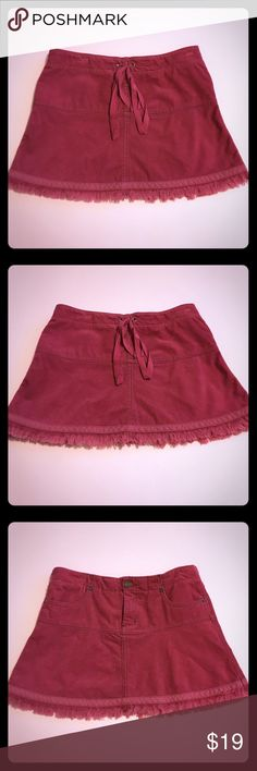Juicy Couture Tie-Back Frayed Corduroy Skirt Darling corduroy skirt only worn a few times! It's in good condition with no noticeable signs of wear. It has a super cute tie-back and frayed hem line. Color is in the cranberry family and perfect for winter/early spring. Offers welcome! Juicy Couture Skirts