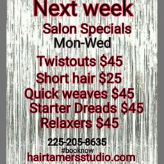 #salon #specials #next #week #booknow ##hairtamer #batonrouge #hair #hair #studio #short #styles #quickweaves #twistouts #perms #relaxers #batonrouge #hair #salon #hairstudio #hairtamersstudio hairtamersstudio.com