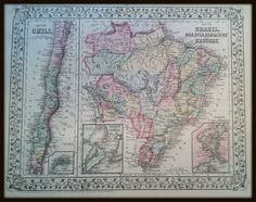 Antique Map Of South America Vintage Map Chile Argentina Map - Argentina map for sale