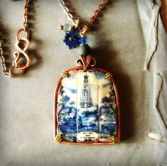Our Lady Of Fatima Portuguese tile pendant artisan by MiddleEarths