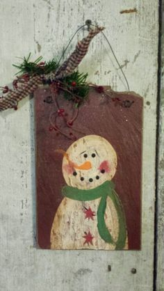 Primitive Snowman, Snowman, Sign, Painted Snowman, Country Snowman, Snowman on Slate, Snowman Sign,  Winter, Christmas, Hand Painted, Slate by FlatHillGoods on Etsy