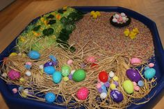 Easter Sensory Small World Play - preschooler fun more details available at mudpiefridays.com