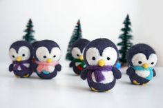 Customized Gray Needle Felted Christmas Penguin Ornament - MADE TO ORDER