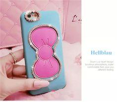 Süße Silkonhülle mit Diamanten verzierzer Schleife als Auflager für iPhone 5/5S/6/6 Plus - spitzekarte.com