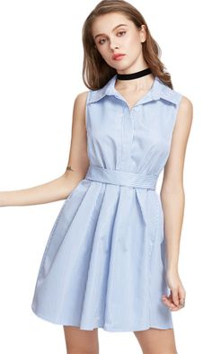Pretty close to the blue seersucker sleeveless collar dress I am looking for.