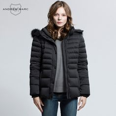 ANDREW MARC 2016 Women Duck Down Jacket Coat Hooded Cold Winter Snow Proof Warm Down Outwear Jackets TW6AE211 #Affiliate