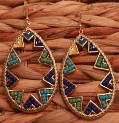 Green and Turquoise Tear Drop Zig Zag Earrings from Southern Jewelry Auctions on Facebook!