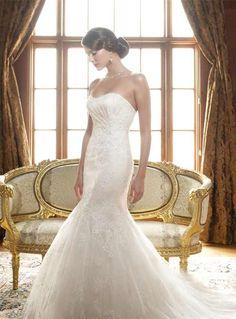 Trumpet wedding dress flower detailing slight rouching at bust