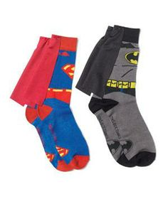 He has the cape, the Halloween costume, the poster, the action figure, the DVD , and the pj's. But does he have the socks?