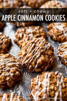 Soft and chewy apple cinnamon oatmeal cookies with crisp edges and tons of flavor! So quick and no mixer! Recipe on sallysbakingaddiction.com #cinnamoncookies