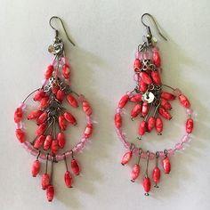 Mandisakura Oorbellen - hanger roze-rood 6,5cm