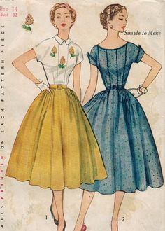 1950s Simplicity 3926 UNCUT Vintage Sewing Pattern Misses
