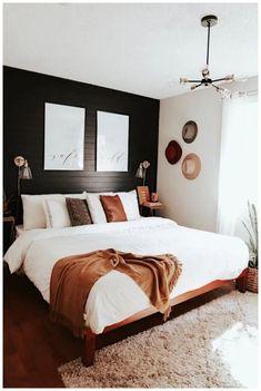 Mid Century Modern Bedroom Design Ideas « Home Decoration - Home Design Dream Bedroom, Home Bedroom, Black Master Bedroom, Master Suite, Bedroom Inspo, White And Brown Bedroom, Master Bedroom Design, Apartment Master Bedroom, Bedroom With White Walls