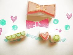 GIRLIE rubber stamp - hand carved rubber stamp - handmade -  love heart/bow/circle/scallope - set of 4