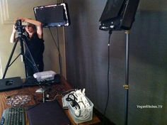 Lexi Love setting up lights and cameras for our live streaming event at  Patxi's Pizza San Francisco.