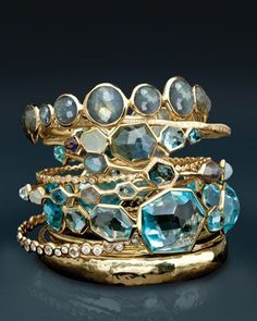 Love these, Aquamarine n' Silver Stack Rings!