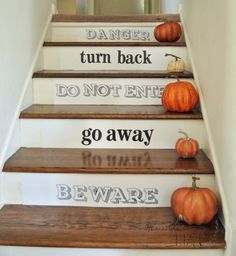 fun halloween spooky stairs made with poster board and letter stickers