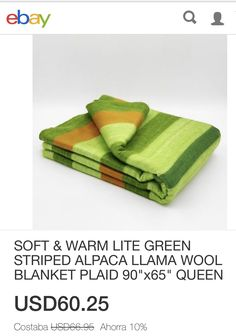 """ORANGE GREEN STRIPE. BEAUTIFUL! ALPACA ECUADORIAN WOOL BLANKET SIZE 85""""x65"""""""