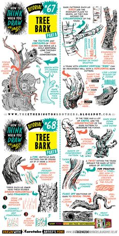 Today's tutorial looks at how to THINK When you draw TREE BARK, I recommend you use this tutorial in conjunction with my other FOLIAGE tutorials on MUSHROOMS and FUNGUS and GRASS. All the art for t...