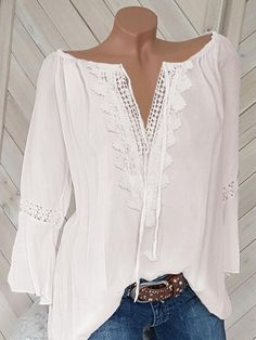 Casual Long Sleeve V Neck Plus Size Shirts Tops – narachic Plus Size Shirts, Plus Size Blouses, Cheap Womens Tops, Mi Long, Blouse Styles, Pulls, Plus Size Women, Long Sleeve Tops, Ideias Fashion