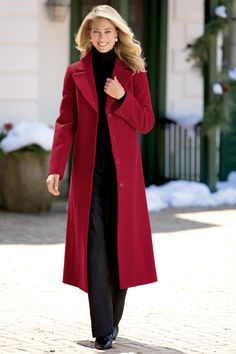 Classic Long Wool Coat   Chadwicks of Boston - love this style - but don't think I'd wear this color.
