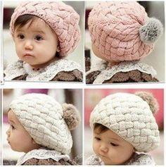 2012 New Autumn winter baby hat bonnet style kid crochet cap lovely infant's headwear Free shipping Hot Sale