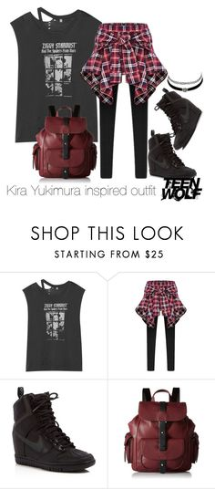 """Kira Yukimura inspired outfit/TW"" by tvdsarahmichele ❤ liked on Polyvore featuring R13, NIKE, Kenneth Cole Reaction and Charlotte Russe"