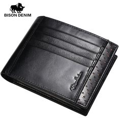 Special price BISON DENIM genuine Leather Wallet Men High quality purses Brand Wallets New Young man Short Wallets Black Brown W4406-3 just only $27.54 with free shipping worldwide  #walletsformen Plese click on picture to see our special price for you